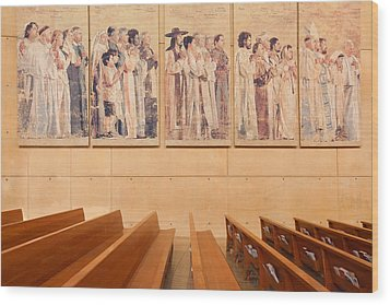 Wood Print featuring the photograph Communion Of Saints - Cathedral Of Our Lady Of The Angels Los Angeles California by Ram Vasudev