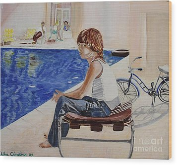 Community Pool Wood Print by Debra Chmelina