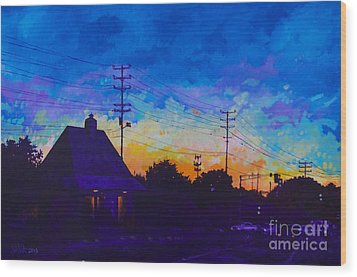 Wood Print featuring the painting Commuter's Sunset by Michael Ciccotello