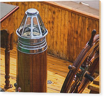 Compass And Bright Work Old Sailboat Wood Print by Bob Orsillo