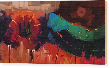 Complex 1 - Red Abstract Painting Wood Print by Kanayo Ede