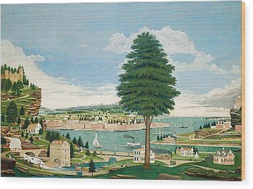 Composite Harbor Scene With Castle Wood Print by Jurgen Frederick Huge