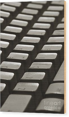 Computer Keyboard Wood Print by Olivier Le Queinec