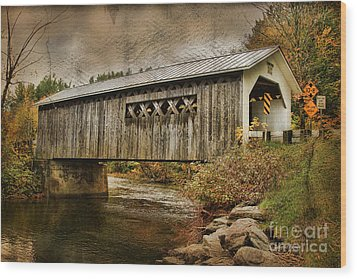 Comstock Bridge 2012 Wood Print by Deborah Benoit