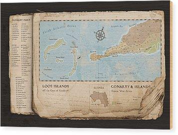 Conakry Map Wood Print by Dave Kobrenski