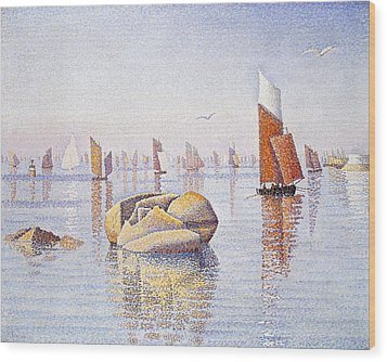 Concarneau   Quiet Morning Wood Print by Paul Signac
