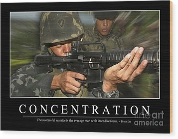 Concentration Inspirational Quote Wood Print by Stocktrek Images