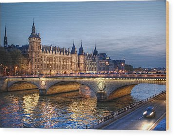 Conciergerie And Pont Napoleon At Twilight Wood Print by Jennifer Ancker