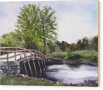 Wood Print featuring the painting Concord Bridge by Cindy Plutnicki