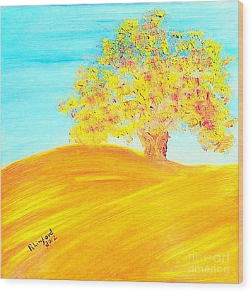 Concord California Oak 2 And Poem Concord In The Son Wood Print by Richard W Linford