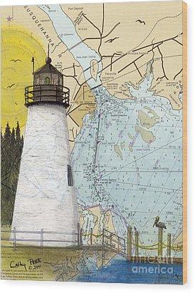 Concord Pt Lighthouse Md Nautical Chart Map Art Cathy Peek Wood Print by Cathy Peek