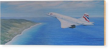Concorde Over Barbados Wood Print by Elaine Jones