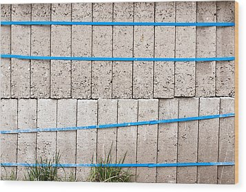 Concrete Blocks Wood Print by Tom Gowanlock