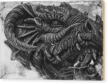 Concrete Dragon  Wood Print by Sheena Pike