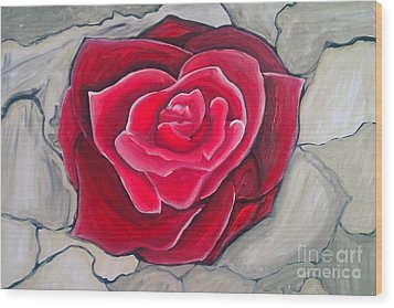 Wood Print featuring the painting Concrete Rose by Marisela Mungia