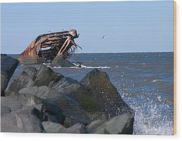 Wood Print featuring the photograph Concrete Ship by Greg Graham