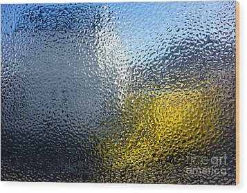 Condensation 03 - White House And Yellow Lorry Wood Print by Pete Edmunds