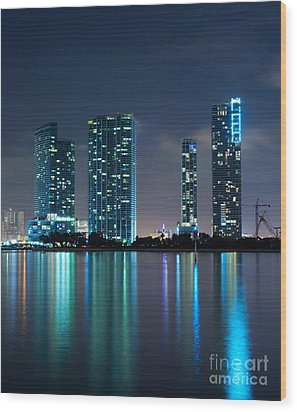 Condominium Buildings In Miami Wood Print by Carsten Reisinger