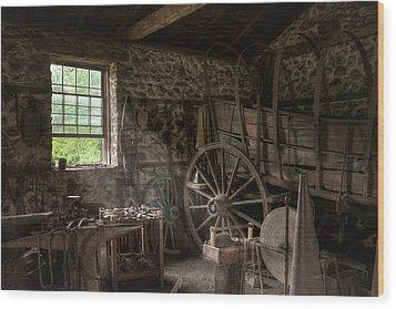 Wood Print featuring the photograph Conestoga Wagon At The Blacksmith - Wagon Repair by Gary Heller