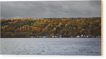 Conesus Lake Autumn Wood Print