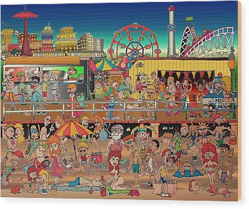 Coney Island Boardwalk Wood Print by Paul Calabrese