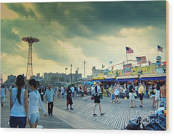 Coney Island Brooklyn New York City Wood Print by Sabine Jacobs