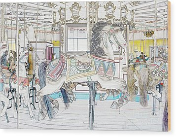 Coney Island Carousel Wood Print by Lilliana Mendez