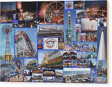 Wood Print featuring the photograph Coney Island Collage by Steven Spak
