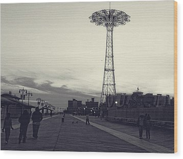Coney Island Dusk Wood Print
