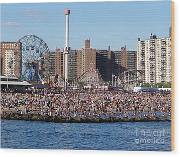 Wood Print featuring the photograph Coney Island by Ed Weidman