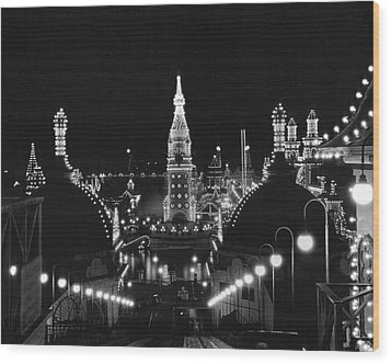 Coney Island - Nighttime Roller Coaster Wood Print by MMG Archives