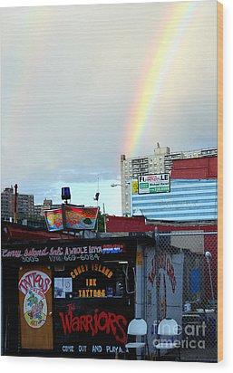 Coney Island Rainbow Wood Print by Robert Riordan