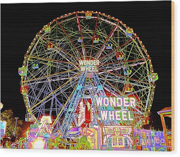 Coney Island's Famous Amusement Park And Wonder Wheel Wood Print