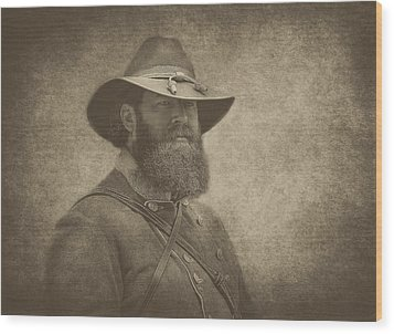 Confederate General Wood Print by Pat Abbott