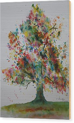 Confetti Tree Wood Print by Patsy Sharpe