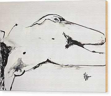 Wood Print featuring the drawing Confidence by Helen Syron