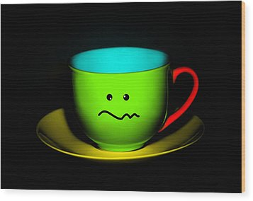 Confused Colorful Cup And Saucer Wood Print by Natalie Kinnear