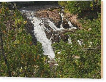 Conglomerate Falls Wood Print by Thomas Pettengill
