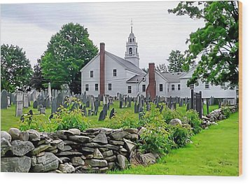 Congregational Church Cemetery Hollis Nh Wood Print by Janice Drew