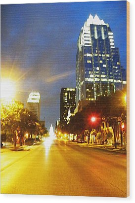 Congress Boulevard Austin Wood Print by The GYPSY And DEBBIE