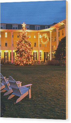Congress Hall Christmas Wood Print