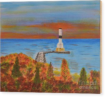 Wood Print featuring the painting Fall, Conneaut Ohio Light House by Melvin Turner