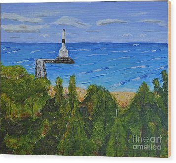 Wood Print featuring the painting Summer, Conneaut Ohio Lighthouse by Melvin Turner