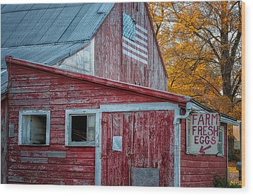Connecticut Farmstand Wood Print by Thomas Schoeller