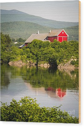 Wood Print featuring the photograph Connecticut River Farm by Edward Fielding