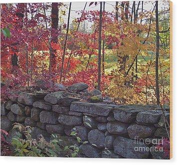 Connecticut Stone Walls Wood Print