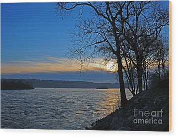 Conowingo Sunrise Wood Print by Olivia Hardwicke