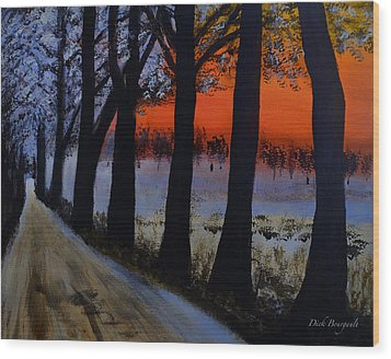Conrad Road Sunrise Wood Print by Dick Bourgault