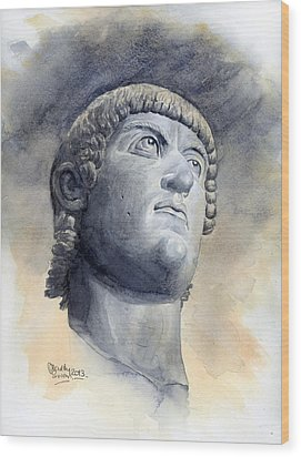 Constantine Bronze Head Wood Print by Maddy Swan