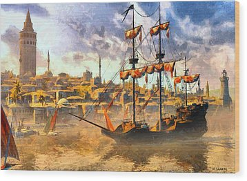 Wood Print featuring the digital art Constantinopoli Anno Domini 1533 by Kai Saarto